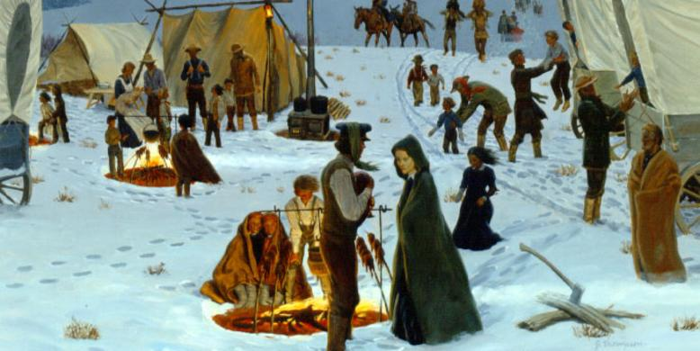 Artistic depiction of Mormon Pioneers camping in the snow