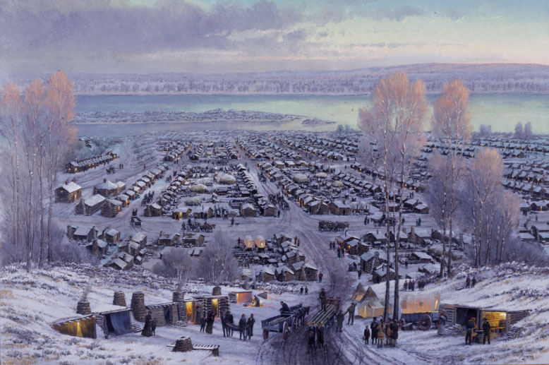 An artist's depiction of early Latter-day Saints in Winter Quarters, Nebraska.