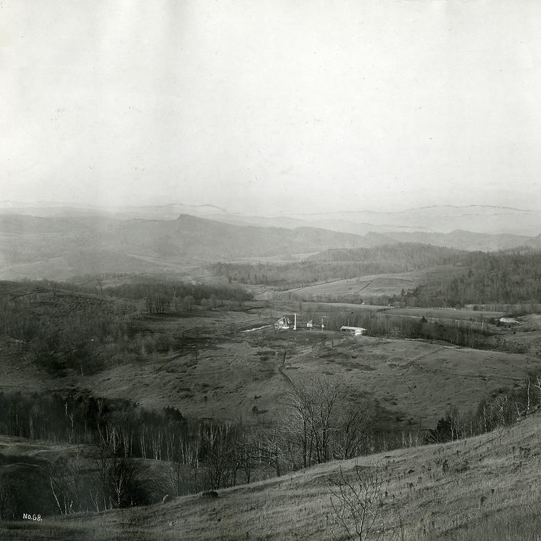"""Birdseye view of Joseph Smith's birthplace, Sharon, Windsor county, Vermont,"" by George E. Anderson"