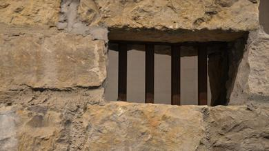 Barred window in Liberty Jail.