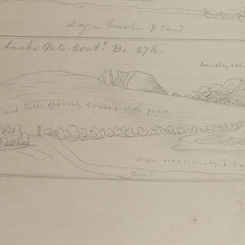 Pioneer sketches captain joseph goldsbrough bruff sketched the rattlesnake mountains including split rock on july 27 1849 publicscrutiny Image collections