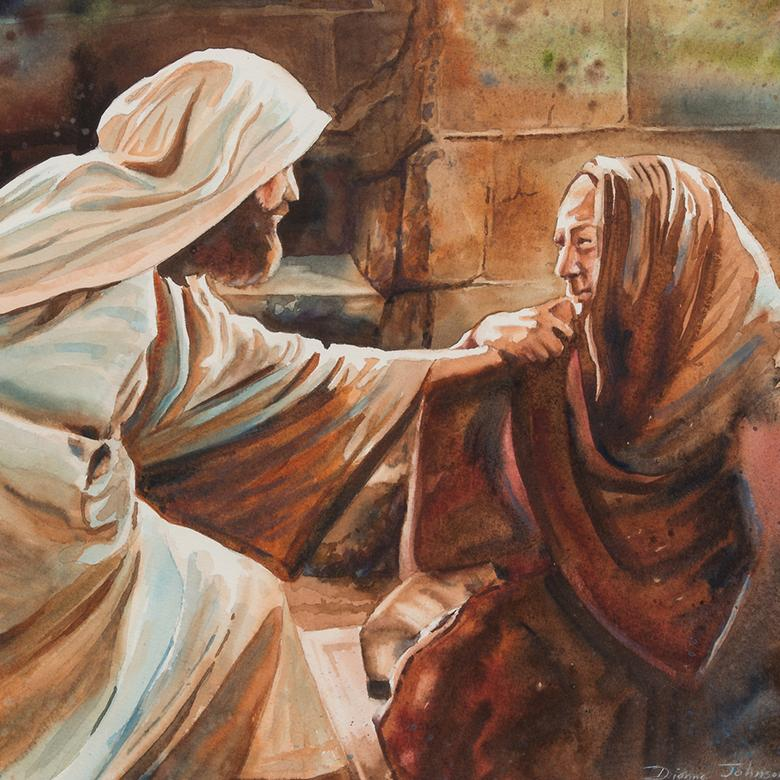 A watercolor by Dianne Johnson Adams depicting the Savior caring for the woman with the issue of blood.