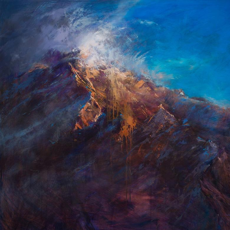 An oil painting by Rob Adamson, depicting the mount of transfiguration.