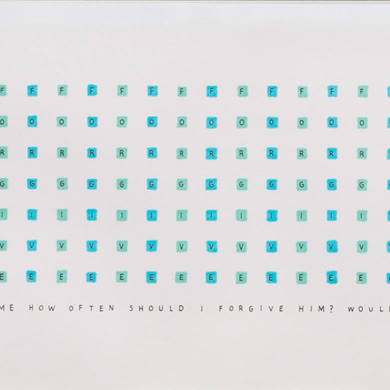 An ink on paper artwork by Daniel Bartholomew, depicting the 490 times we have been asked to continually forgive.
