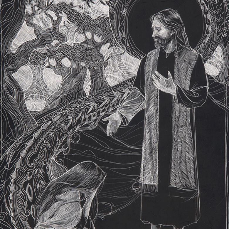A scratchboard triptych by Bethany Bates, depicting Mary of Bethany with the Savior.