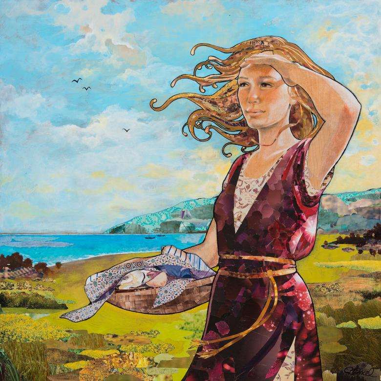 A mixed media collage by Robin Birrell, depicting the sister of the boy who contributed his loaves and fishes to be used by the Savior to feed the 5,000.