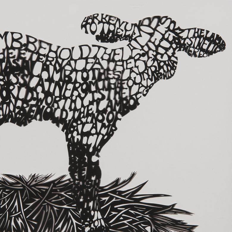 A cut silhouette by Melissa Clark depicting the Lamb of God.