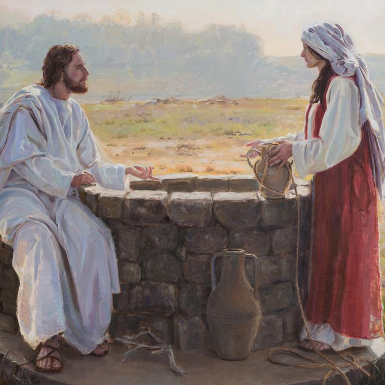 An oil painting by Crystal Suzanne Close depicting Jesus and the woman at the well.