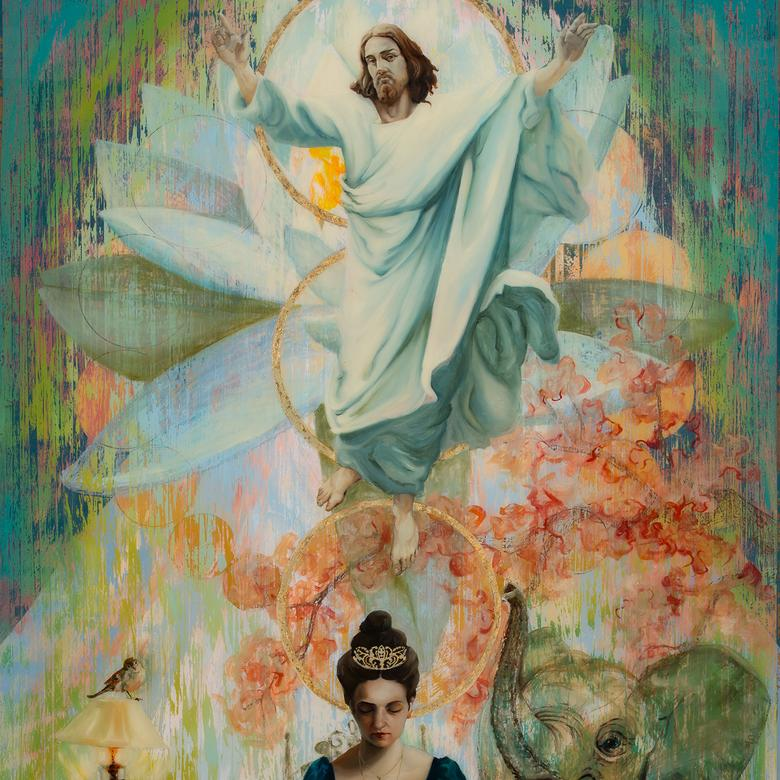 A mixed media artwork by Lisa Aerin Collett depicting the Kingdom of Heaven.