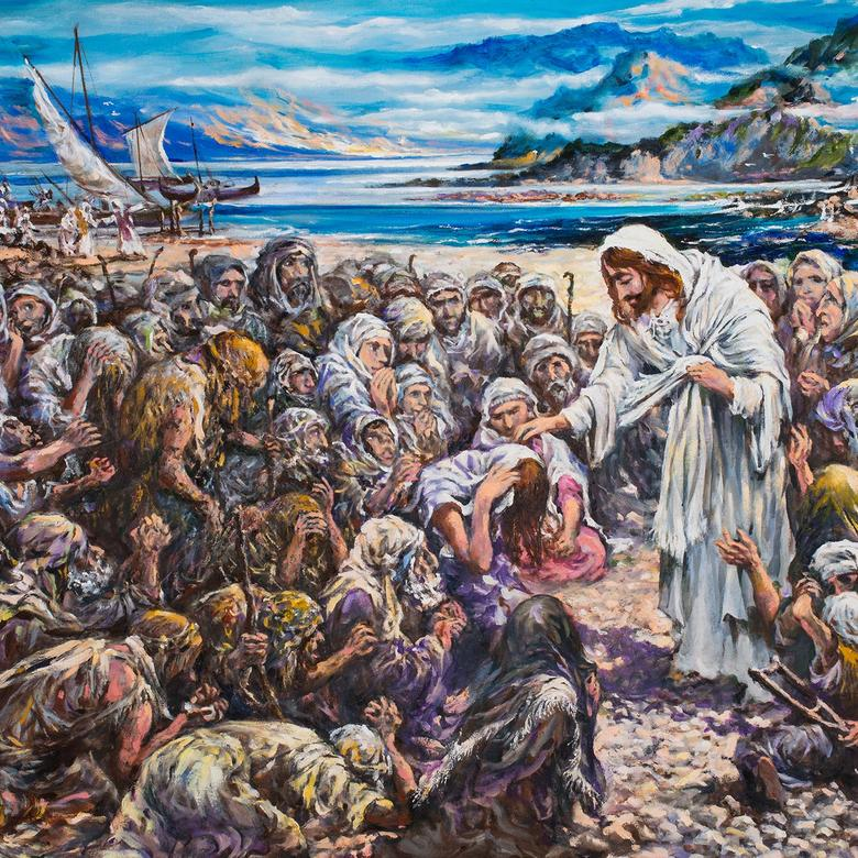 An oil painting by Teodorico Cumagun depicting Jesus doing good among the people.