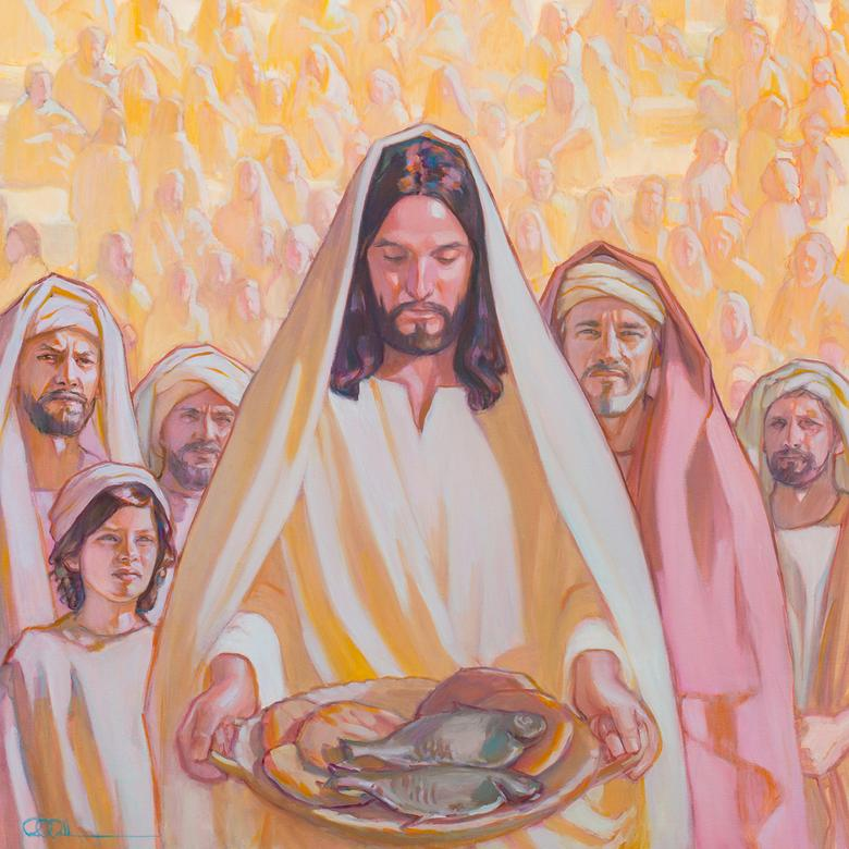 An oil painting by Rose Datoc Dall, depicting Jesus offering the loaves and fishes.