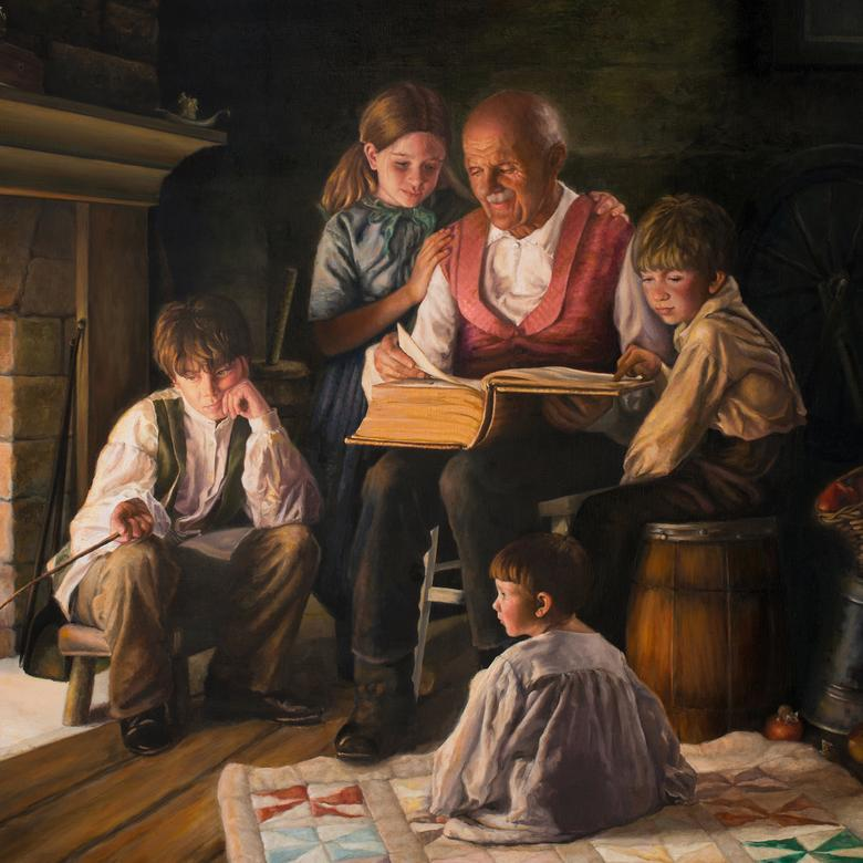 An oil painting by Glenda Cheryl Gleave depicting a love of the scriptures.