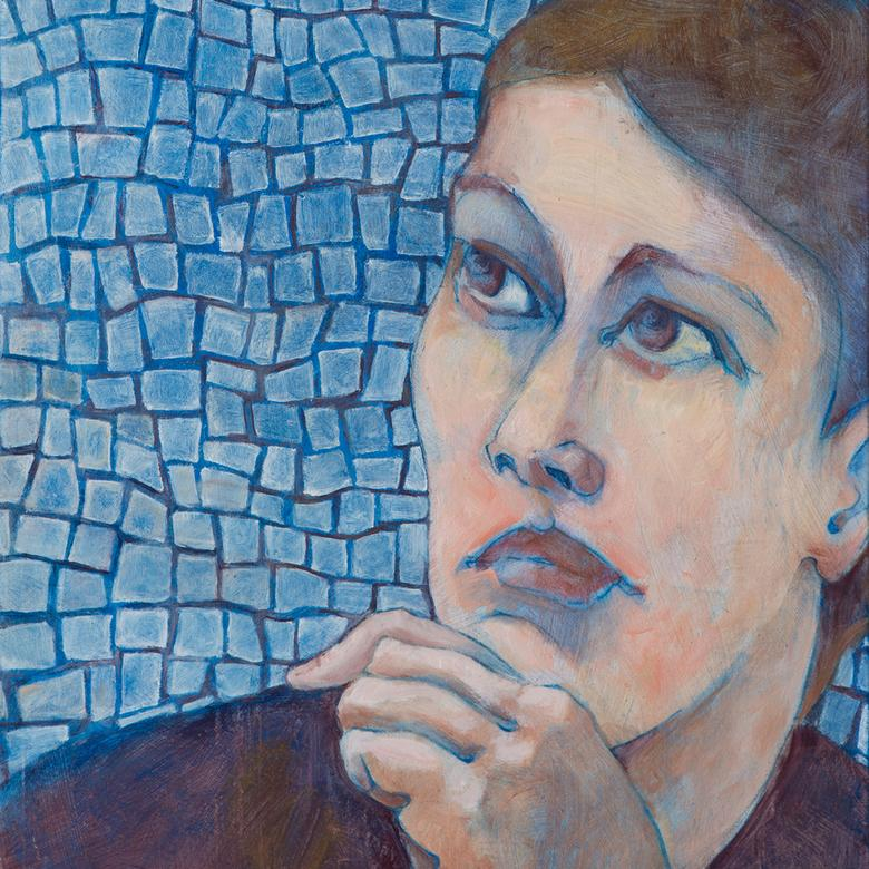 An oil painting by Sue Frances Hansen depicting a Gentile woman in contemplation.