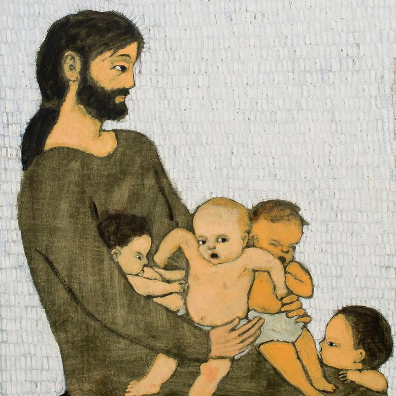 An oil painting by Brian Kershisnik depicting little children with Jesus.