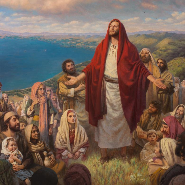 An oil painting by Justin Burton Kunz depicting the Sermon on the Mount.