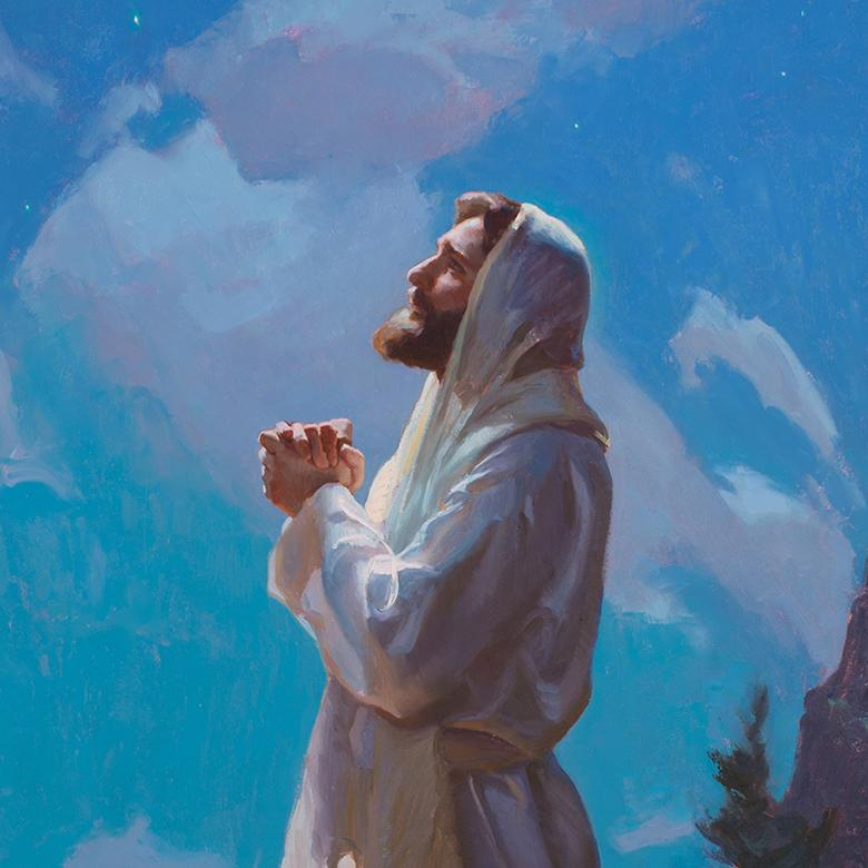 An oil painting by Michael Malm depicting the Savior preparing Himself for His ministry.