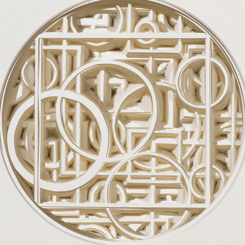 A cut paper relief by Ryan McGowen Muldowney depicting the Pearl of Great Price.