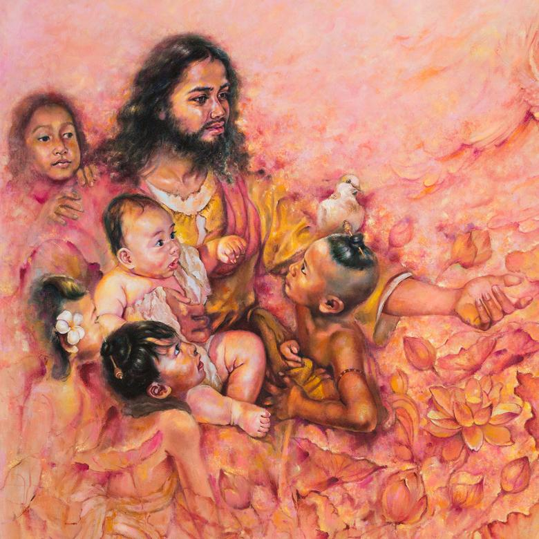 An oil painting by Sopheap Nhem depicting the children of Cambodia surrounding Jesus.