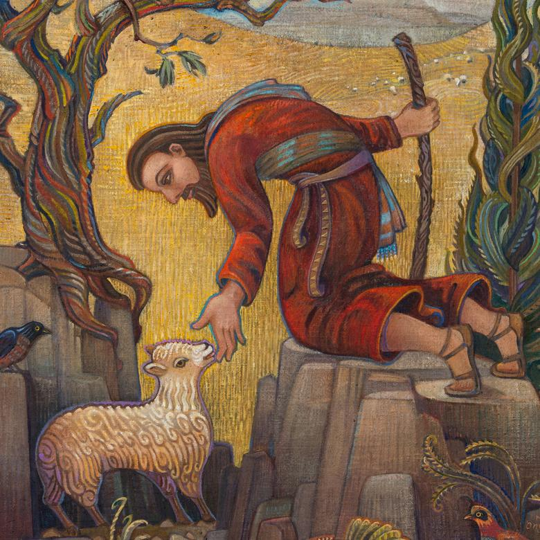 An oil painting by Michal Diane Onyon depicting the Good Shepherd.