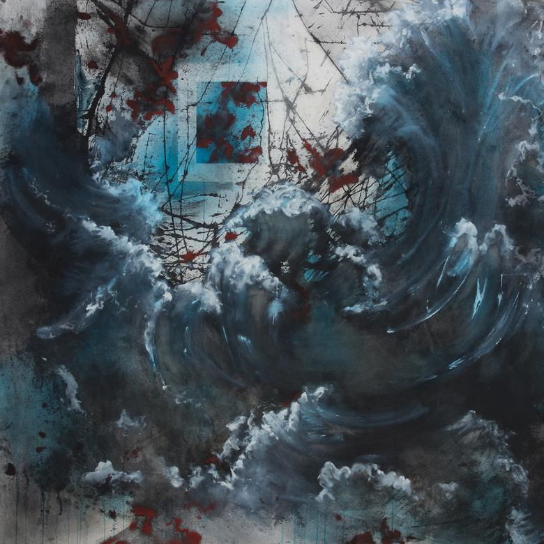A mixed media artwork by Erin Amber Pearson depicting a storm as a symbol of life's trials.