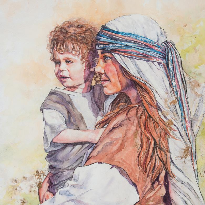 A watercolor, charcoal, and gold leaf artwork by Justine Louise Peterson depicting Mary and the child Jesus waiting for Joseph.