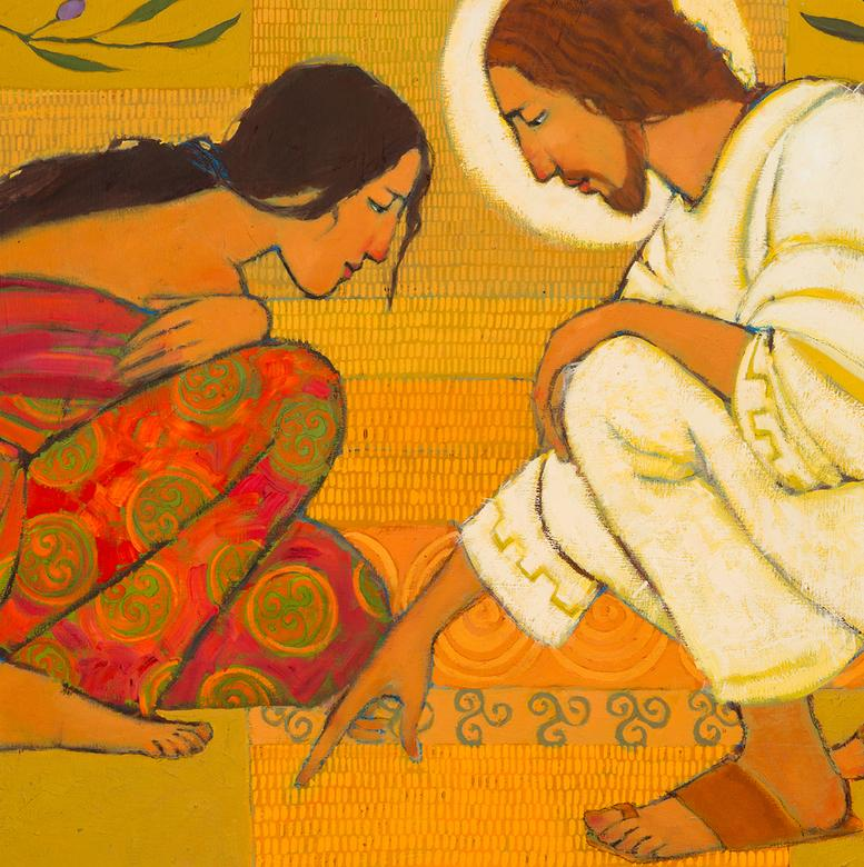 An oil painting by Kathleen Peterson depicting Jesus and the woman taken in adultery.