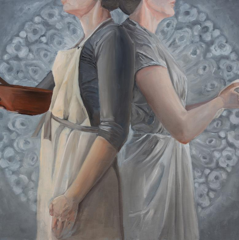 An oil painting by Katherine Marie Ricks depicting Mary and Martha as two sides of the same person.