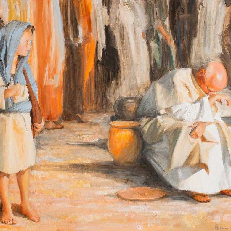 An oil painting by Richard Lance Russell depicting a moment in Christ's childhood.