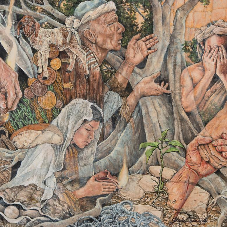 An acrylic painting by Sheila Dianne Somerville depicting the parables of Christ.