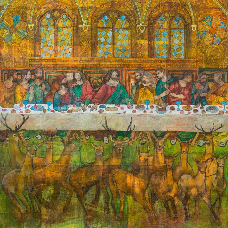 A mixed media artwork by Sabrina Jill Squires depicting the Last Supper.