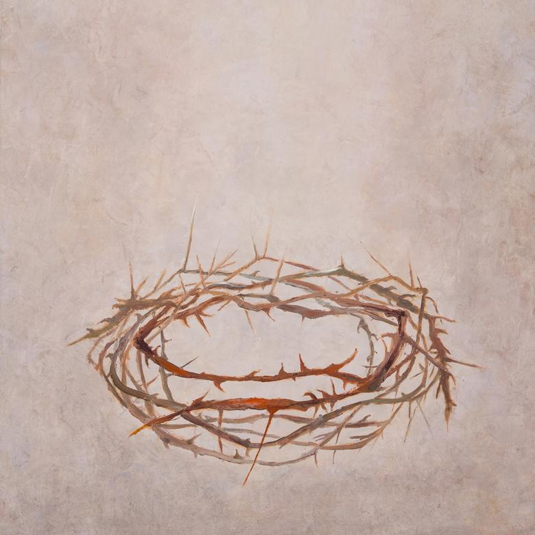 A mixed media artwork by Diane Stevenson Stone depicting the twisted briar crown set upon Christ's head to mock Him.