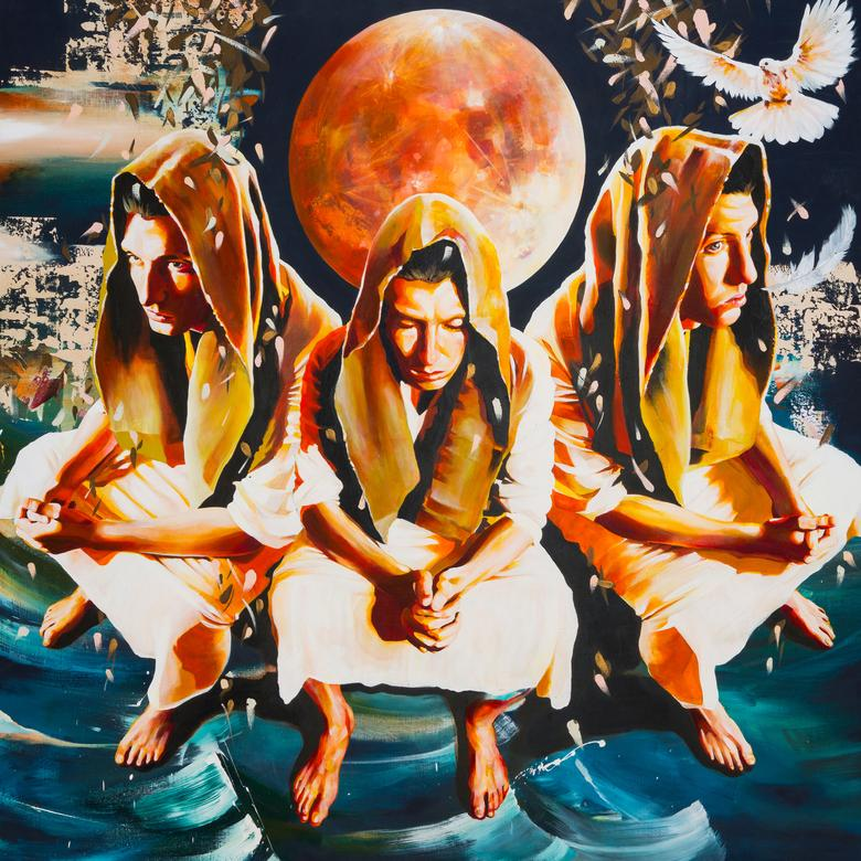 An oil painting by Shohei Takahashi depicting Takahashi's personal experience of communing with God in the temple.