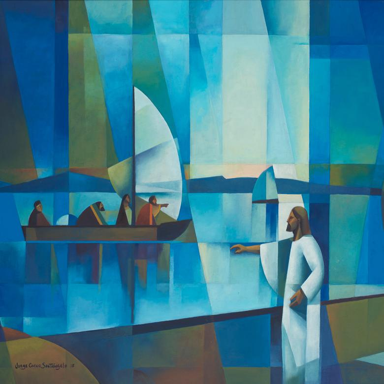 An oil painting by Jorge Orlando Cocco Santangelo depicting Jesus walking by the Sea of Galilee.