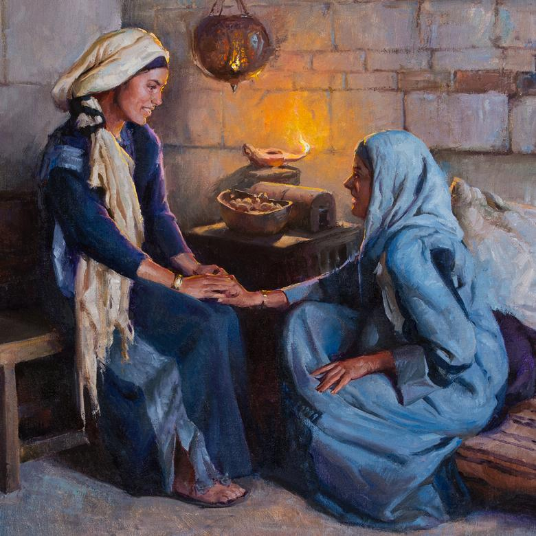 An oil painting by Albin Veselka depicting Mary and Elizabeth.