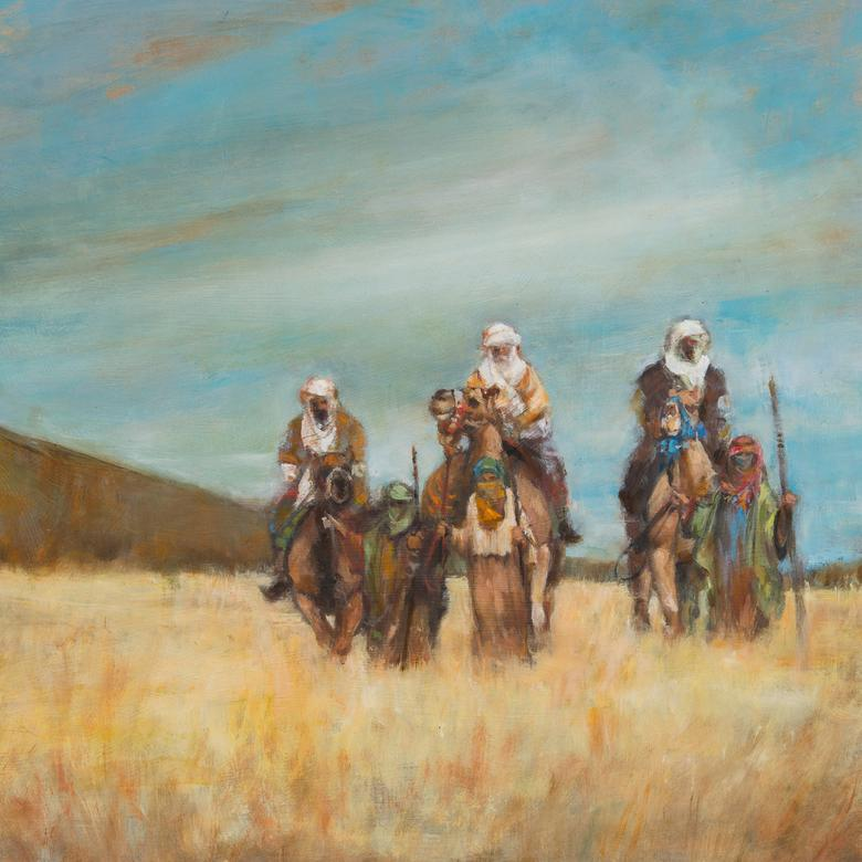 An oil painting by Dana Mario Wood depicting the Wise Men who traveled to see Christ.