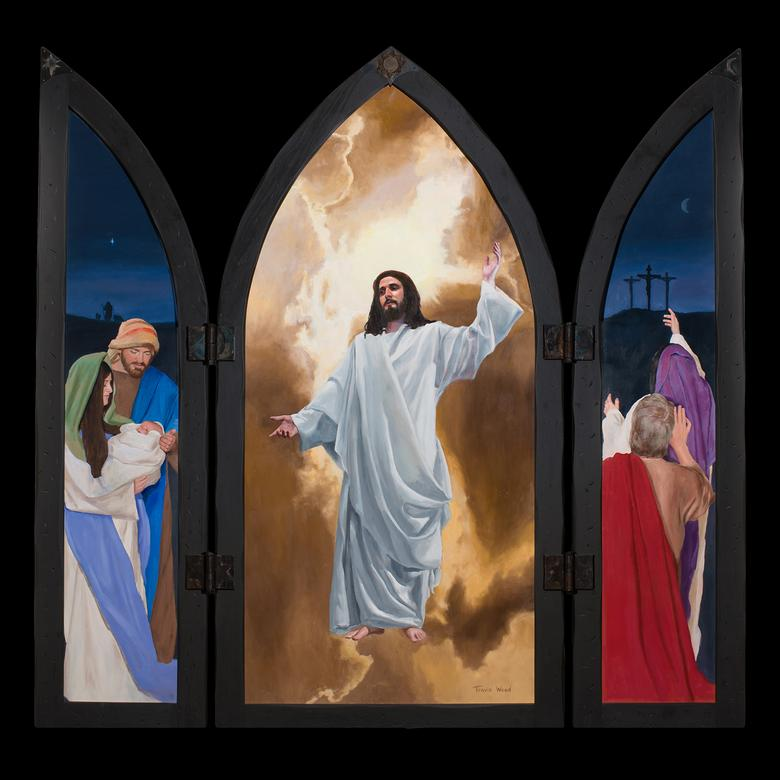 A hinged oil painting by Travis Wood depicting the wonder and awe of the gift of the Atonement.