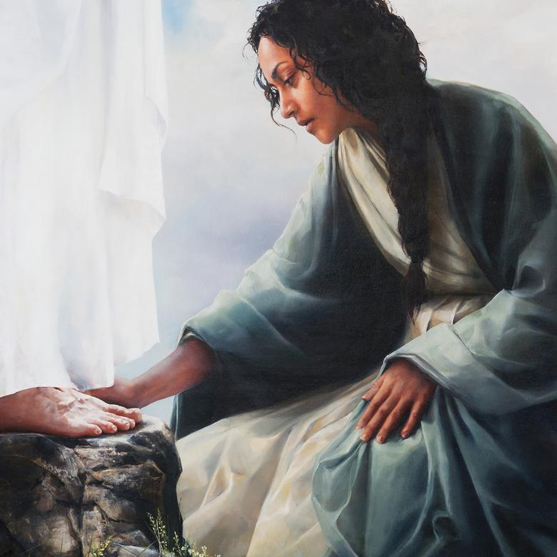 An oil painting by Elspeth Young depicting a Lamanite woman worshiping in reverence at His feet.