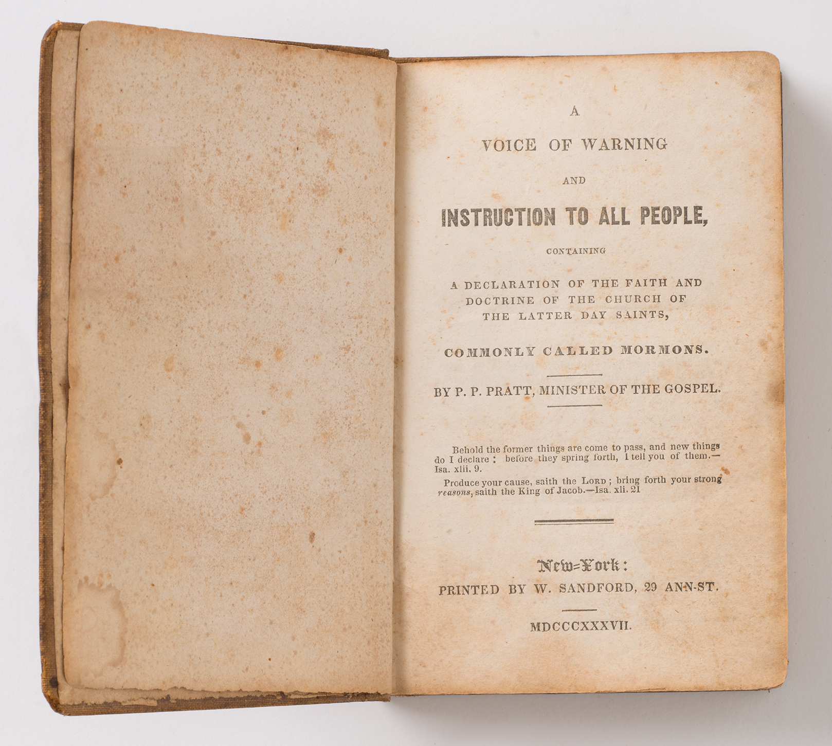 A Voice of Warning title page