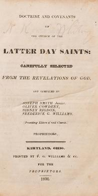 Doctrine and Covenants First Edition, 1835