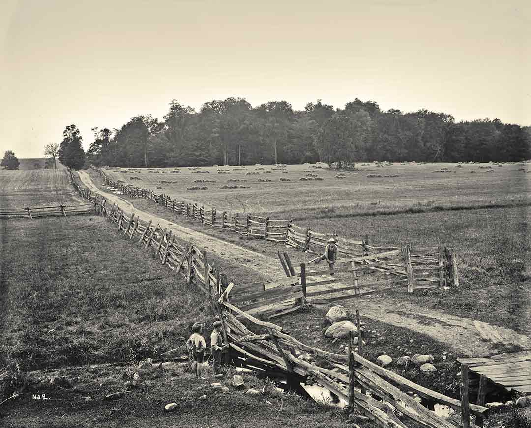 Smith Farm in 1907, with the Sacred Grove in the background; photo by George E. Anderson