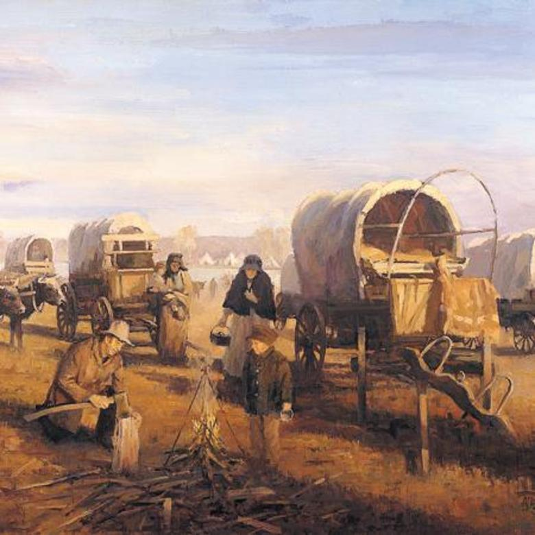HODGETTS WAGON TRAIN AT THE NORTH PLATTE RIVER