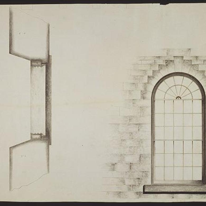 Architectural Drawing of a Temple Window