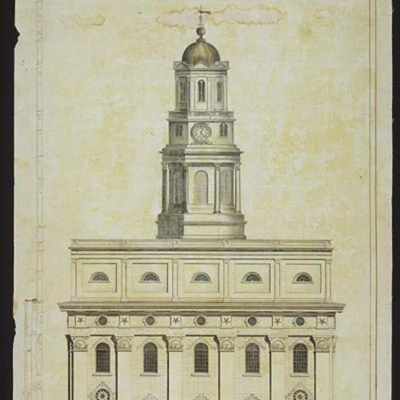 Front elevation of the Nauvoo Temple