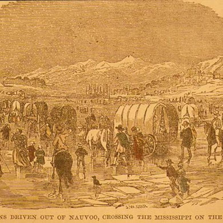 Mormons Driven Out of Nauvoo, Crossing the Mississippi on Ice