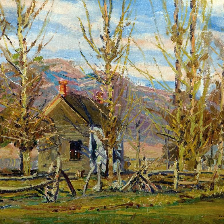 [House in Sun, Row of Trees]