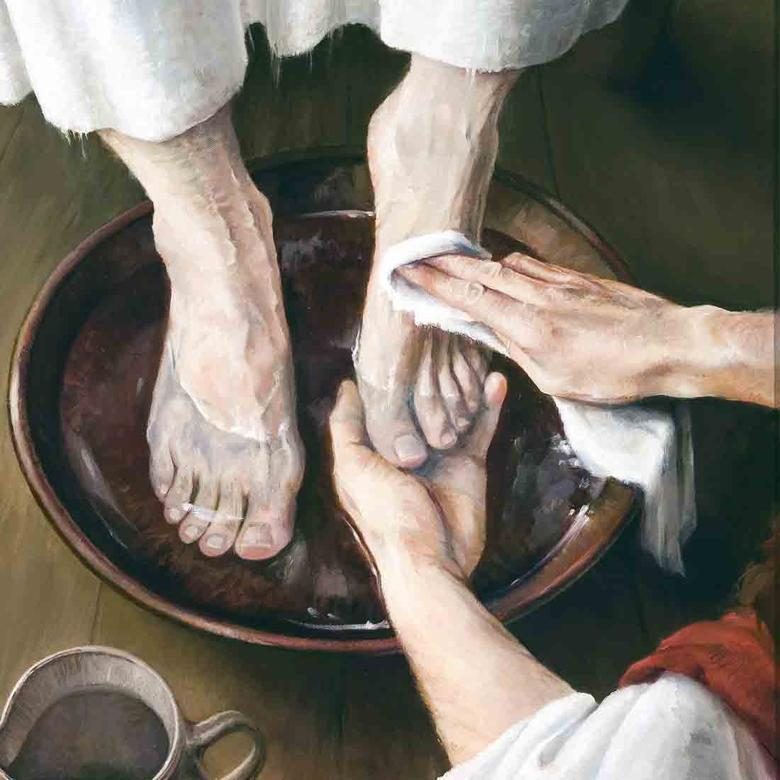 """Jesus Washes an Apostle's Feet,"" by Laurie Olson Lisonbee"