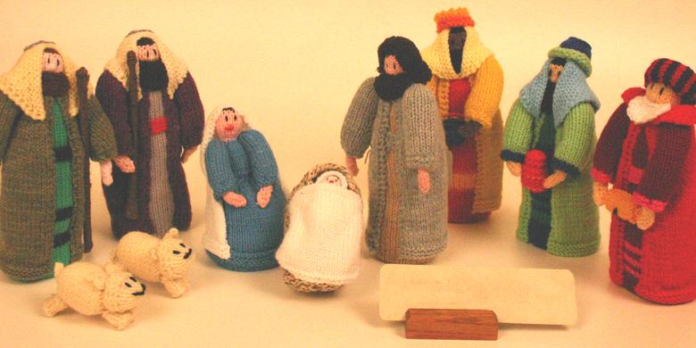English Knitted Doll Nativity Set