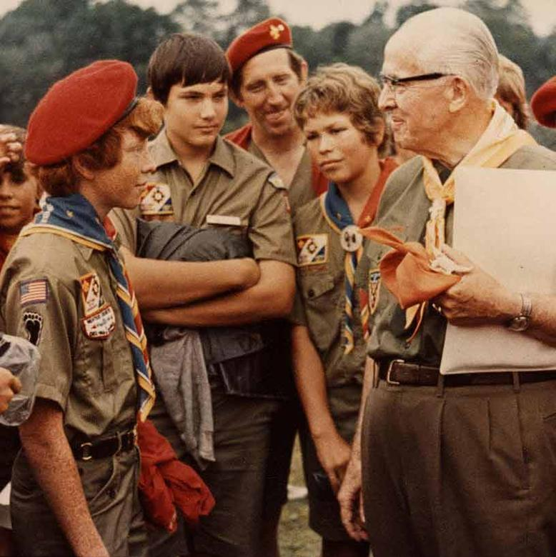 Ezra Taft Benson with Boy Scouts, 1977 National Scout Jamboree