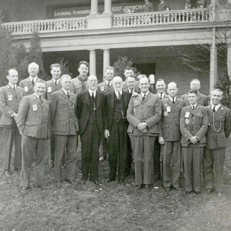 George Albert Smith and Heber J. Grant with Scout Executives in Indiana