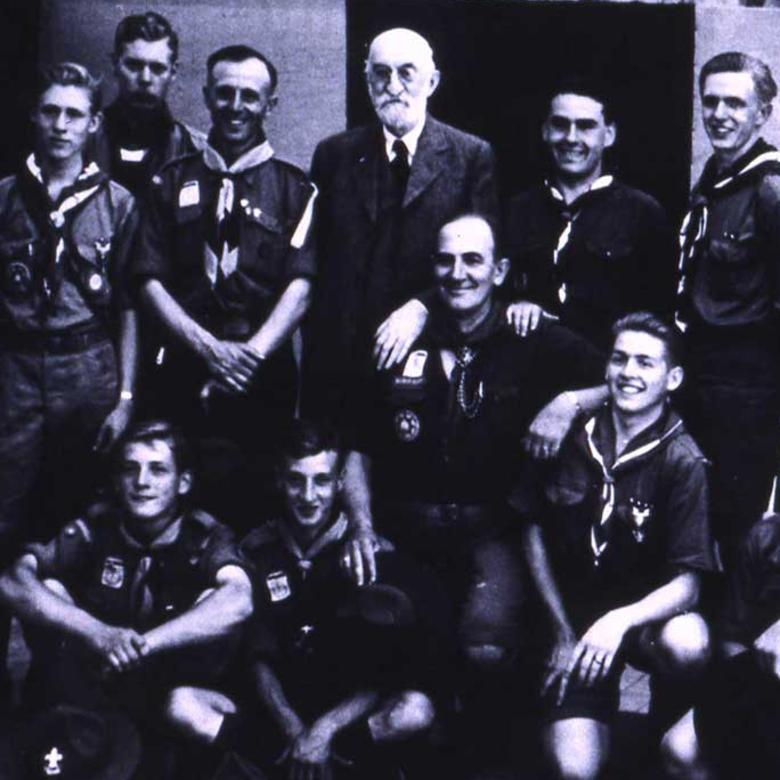 Heber J. Grant with Utah Scouts at the Fifth World Scouting Jamboree, the Netherlands